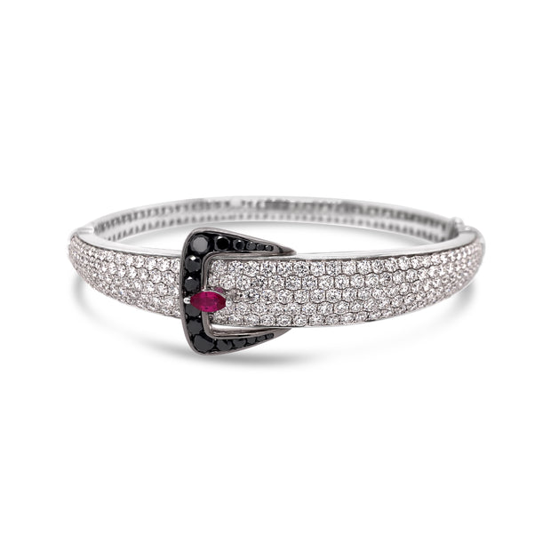 Diamond Hidden Lock Belt Bracelet