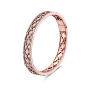 Diamond Faceted Trellis Bangle Bracelet