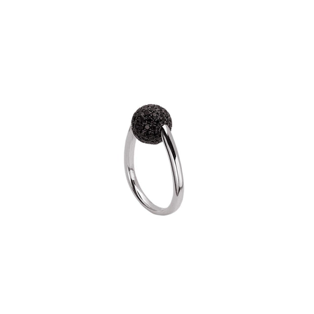 Silver Pave Bead Ring
