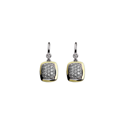 Silver Ivy Cushion Pave Wire Earrings