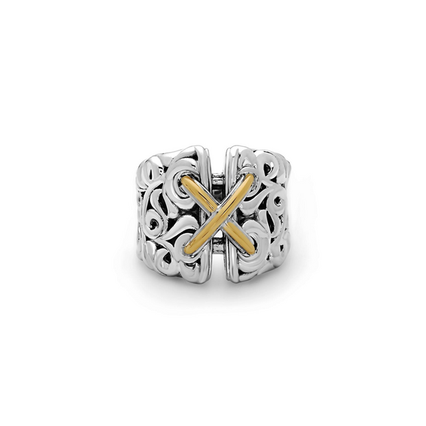 Silver Ivy Two Tone Corset Ring