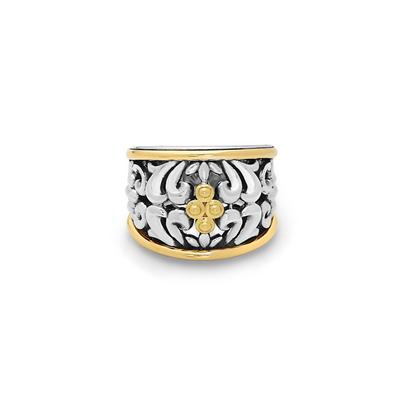 SILVER IVY TWO TONE BEADED RING