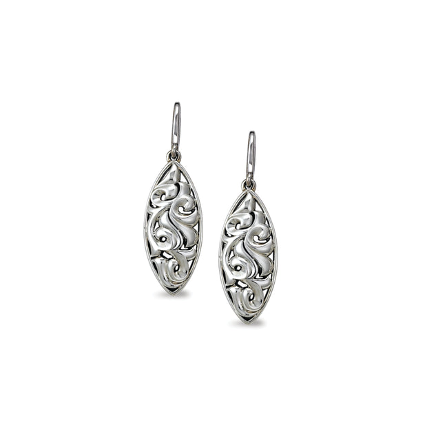 Silver Ivy Marquise Wire Drop Earring