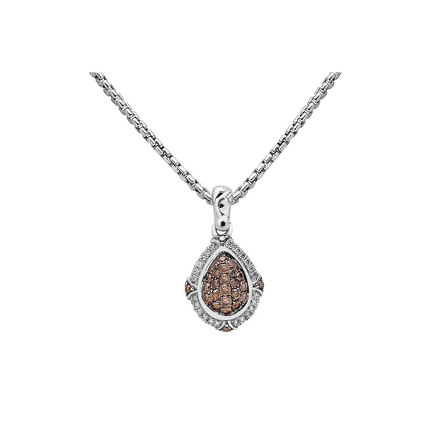 Silver Ivy Gemstone and Diamond Pear Pendant