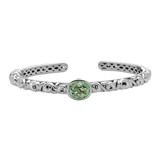 Silver Ivy Gemstone Bangle