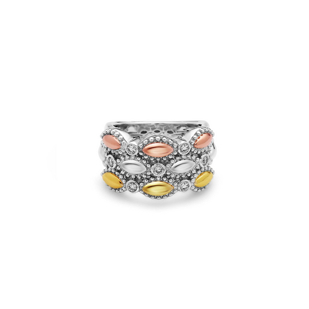 Silver Firefly Diamond Bead Triple-Band Ring