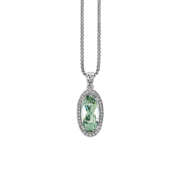 Silver Ivy Gemstone and Diamond Oval Pendant