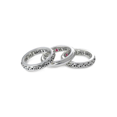 I Love You 365 Days A Year' Stackable Band Rings