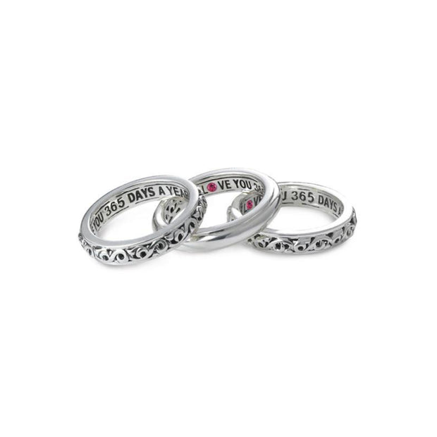 Silver I Love You 365 Days A Year' Stackable Band Rings