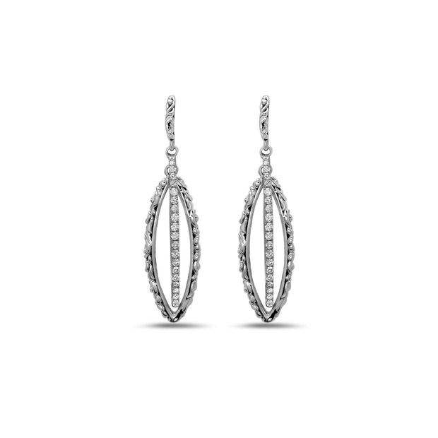 Silver Ivy Large Double Marquise Earring