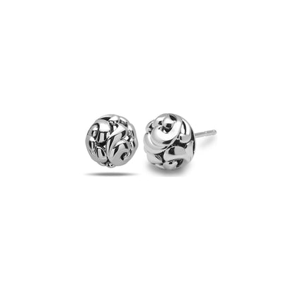 Silver Ivy Large Bead Stud Earring