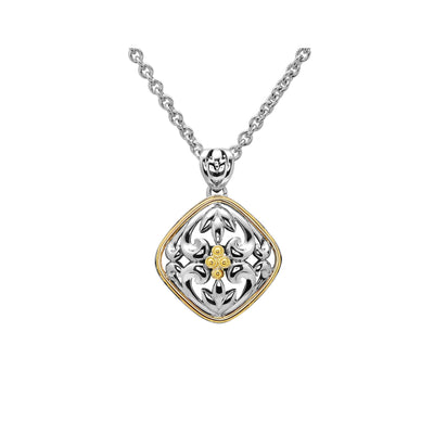 Silver Ivy Two Tone Diamond Shape Pendant