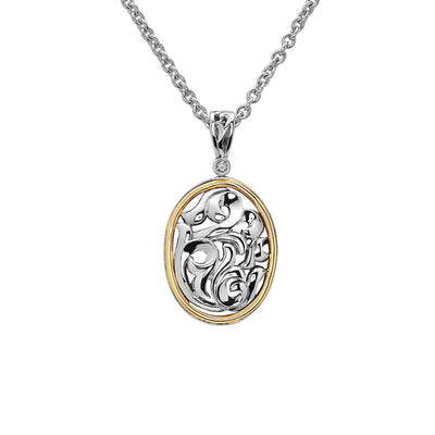 Silver Ivy Two Tone Oval Pendant
