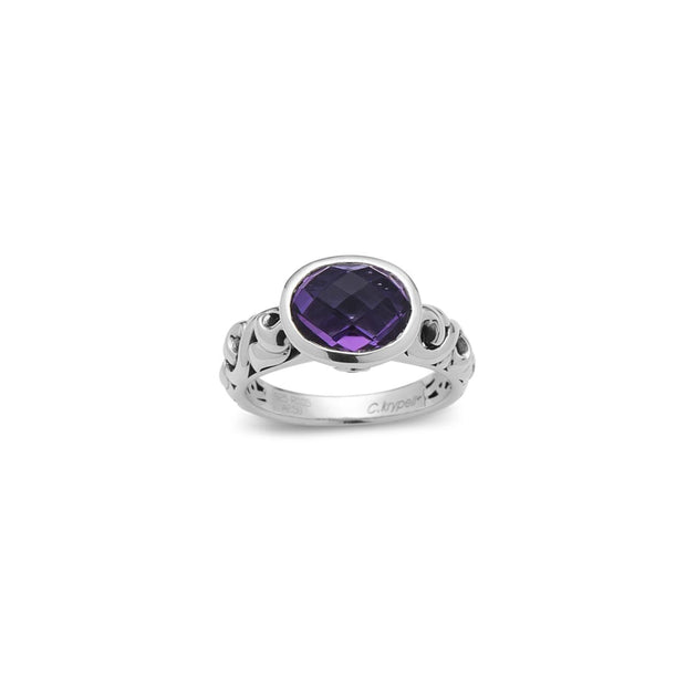 SILVER IVY PETITE OVAL GEMSTONE RING