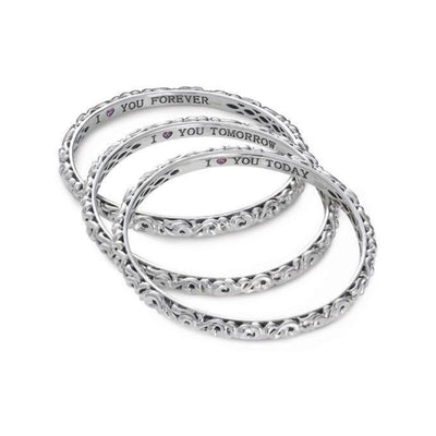 I Love You Today..Tomorrow.. Forever...' Bangle Bracelets