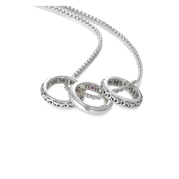 Silver I Love You 365 Days A Year' Three Ring Love Necklace
