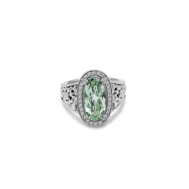 SILVER IVY GEMSTONE AND DIAMOND OVAL RING