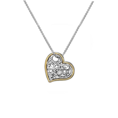 Silver Ivy Two Tone Lazy Heart Pendant