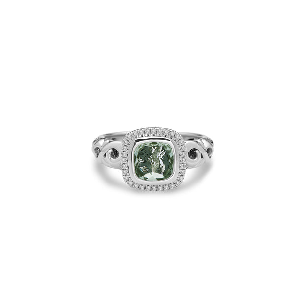 SILVER IVY GEMSTONE AND DIAMOND CUSHION RING