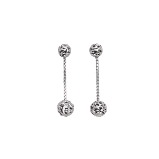 Silver Ivy Double Bead Chain Earring