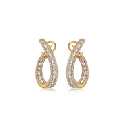 Gold Baguette Diamond J-Hoop Earring