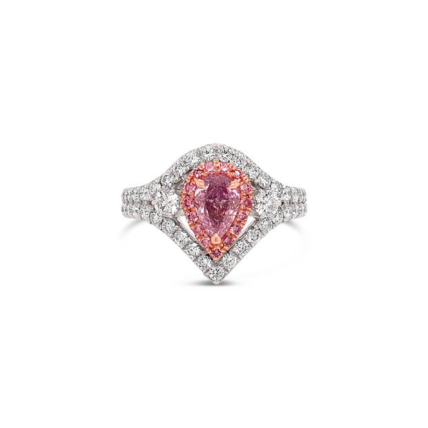 Precious Pink Diamond Double Halo Accented Pear Ring