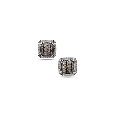 Silver Ivy Cushion Pave Stud Earrings