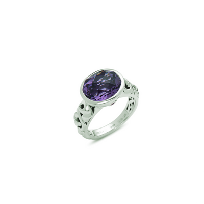 SILVER IVY OVAL GEMSTONE RING