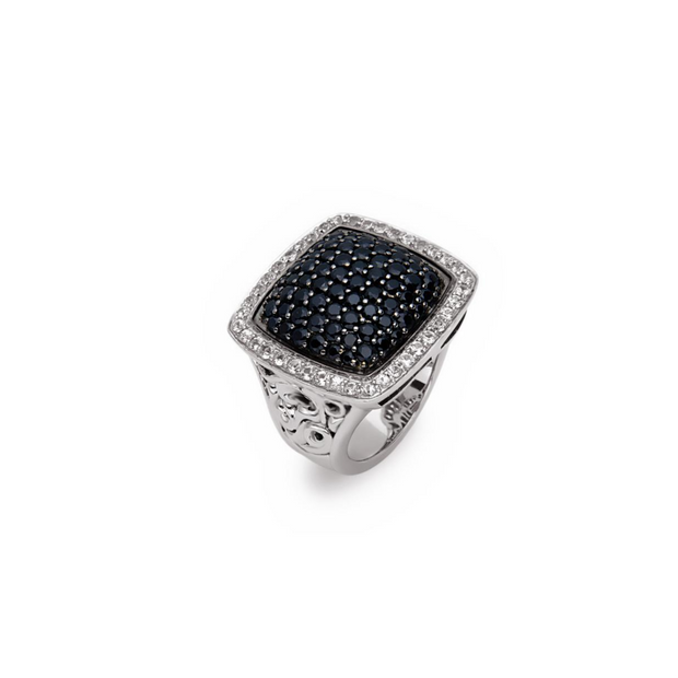 Silver Ivy Pave Large Cushion Ring