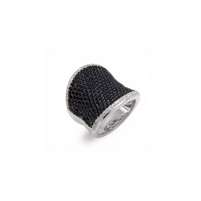 SILVER PAVE LARGE SADDLE RING