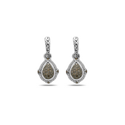 SILVER IVY GEMSTONE AND DIAMOND PEAR DROP EARRING