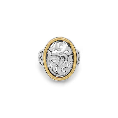 Silver Ivy Two Tone Oval Ring