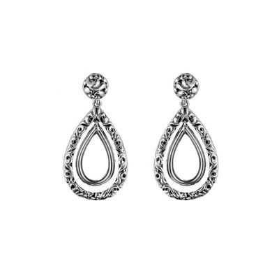 Silver Ivy Double Pear Shape Earring