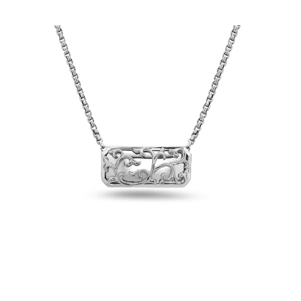 Silver Ivy Lace Bar Pendant