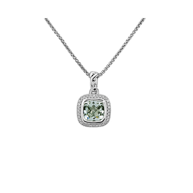 Silver Ivy Gemstone and Diamond Cushion Pendant