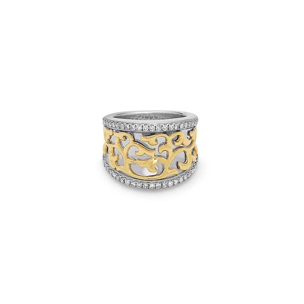 Silver Ivy Lace Concave Saddle Ring