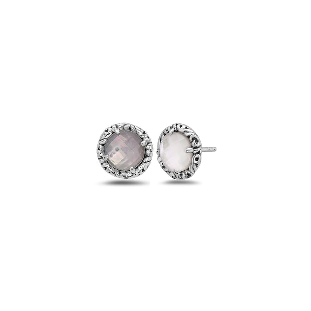 Silver Skye Button Earring