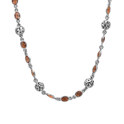 Silver Ivy Bead Gemstone Wrap Necklace