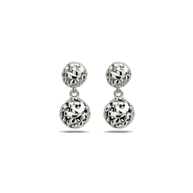 Silver Ivy Bead Drop Earring