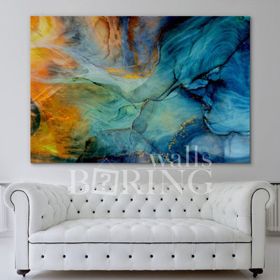 Fire and Water Abstract Art Canvas Print BoringWalls