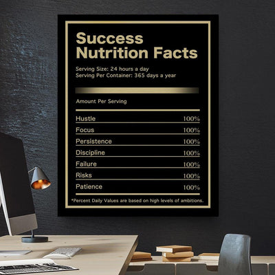 Success Nutrition Facts Canvas Print BoringWalls