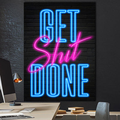 Get Shit Done Motivational Wall Art Canvas Print BoringWalls