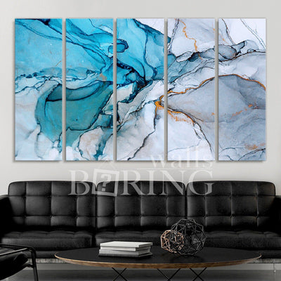 Blue Ocean Abstract Marble Canvas Print BoringWalls
