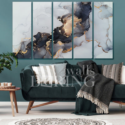 Black and White Abstract Marble Art Canvas Print BoringWalls