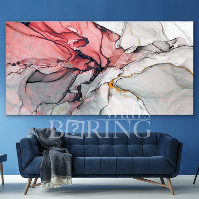 Red and Grey Abstract Wall Decor Canvas Print BoringWalls