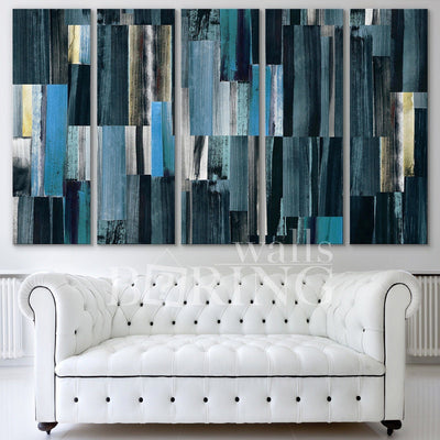 "Abstract Colorful Stripes Wall Art Canvas Print BoringWalls 5 Panel - W: 60"" x H: 36"" inch 0.75 depth"