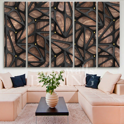Boho Wood Art on Canvas Canvas Print BoringWalls
