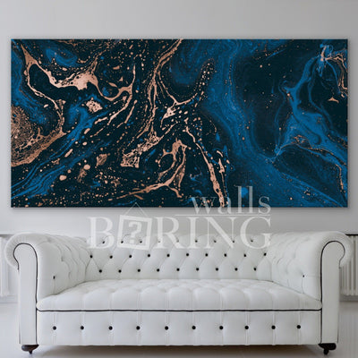 Navy Blue and Gold Luxury Abstract Print Canvas Print BoringWalls