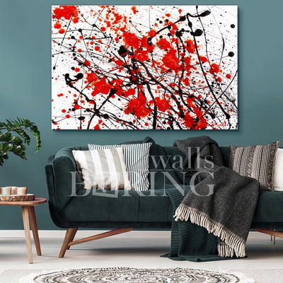 Contemporary Black and Red Art Canvas Print BoringWalls