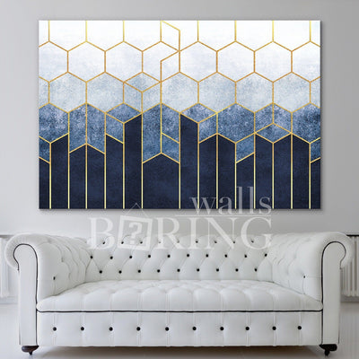 Navy Blue and Gold Geometric Wall Art Canvas Print BoringWalls